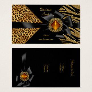 Elegantes Zebra-Leopard-Schwarz-Gold Visitenkarte