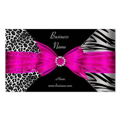 Elegantes Zebra-Leopard-Schwarz-Pink Visitenkarten