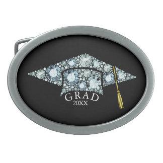 ElegantGrad Hut-funkelnde Diamant-Text-Schablone Ovale Gürtelschnallen
