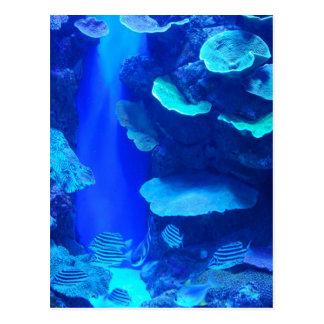Elektrische blaue Fisch-Postkarte Postkarte