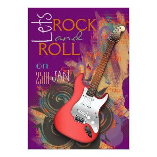 elektrische Gitarre Felsen- u. RollenParty 12,7 X 17,8 Cm Einladungskarte