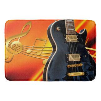Elektrische Gitarre mit Musiknoten Badematte