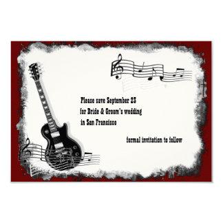 Elektrische Gitarren-Schwarz-rote Musik Save the 8,9 X 12,7 Cm Einladungskarte