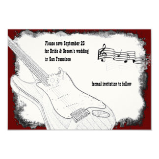 Elektrische Gitarren-Schwarz-rote weiße Musik 8,9 X 12,7 Cm Einladungskarte