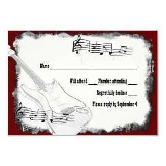 Elektrische Gitarren-Schwarz-rotes weißes Musik 8,9 X 12,7 Cm Einladungskarte