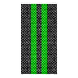 Elektrische grüne Kohlenstoff-Faser-Art, die Foto Karten Vorlage