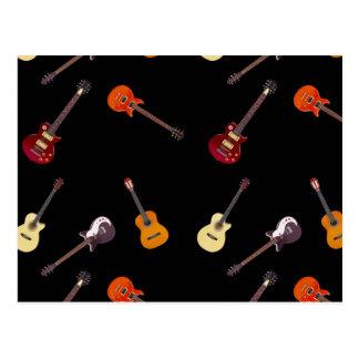 Elektrische u. Akustikgitarre-Collage Postkarten