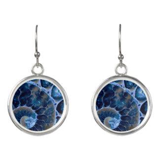 elektrischer blauer Nautilus Ohrringe