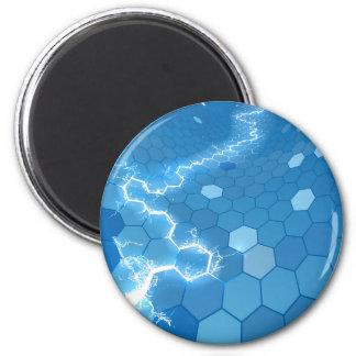 Elektrischer Hexagon-Bienenwaben-Hintergrund Runder Magnet 5,1 Cm