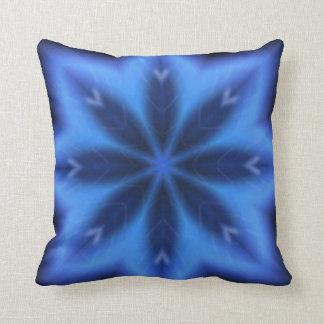 Elektrisches Blau-Blätter Kissen