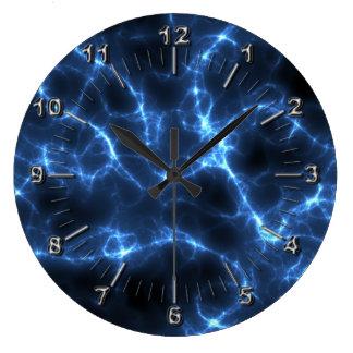 Elektrisches Blau Große Wanduhr