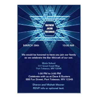 Elektrisches blaues Bar Mitzvah Karte
