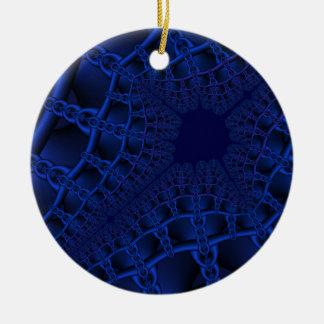 Elektrisches blaues Fraktal Keramik Ornament