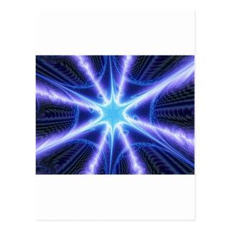 Elektrisches blaues Techno Spinnen-Netz Postkarten