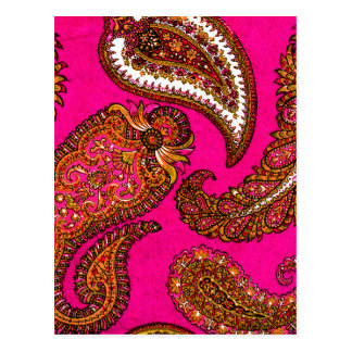 Elektrisches Fuscia Inder-Paisley-Rosa Postkarte