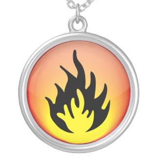 Elementar - Feuer Versilberte Kette