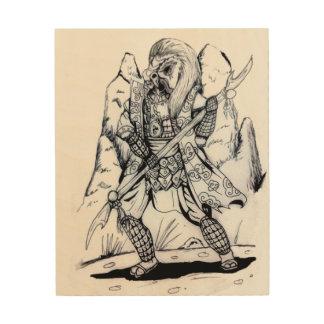 Elementare Luft-Samurais Holzleinwand