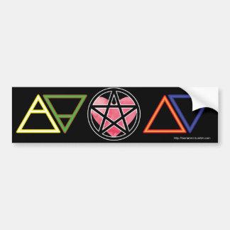 Elementare Symbole mit Herzen und Pentagramm Autoaufkleber