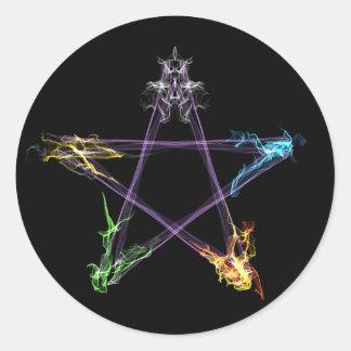 Elementares Energie-Pentagramm Runder Aufkleber