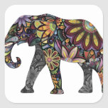 Elephant Colorful Square Stickers