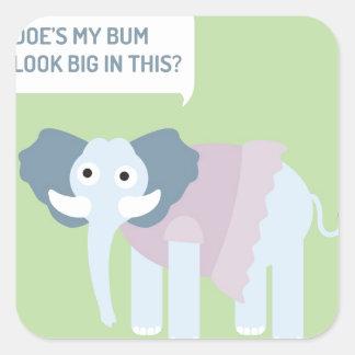 ELEPHANT.jpg Quadratischer Aufkleber