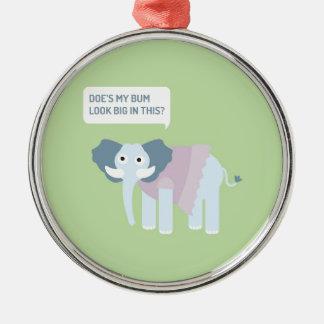 ELEPHANT.jpg Rundes Silberfarbenes Ornament