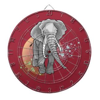 Éléphant Sur Coucher de Soleil stylisé Dartscheibe