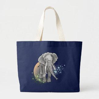 Éléphant Sur Coucher de Soleil stylisé Jumbo Stoffbeutel