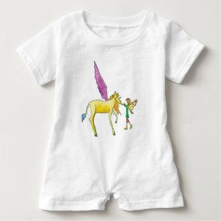 Elf mit einem gelben Alicorn Pony-Pferd Baby Strampler