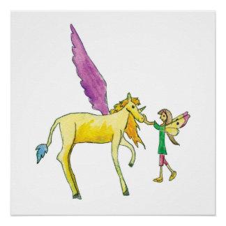 Elf mit einem gelben Alicorn Pony-Pferd Poster