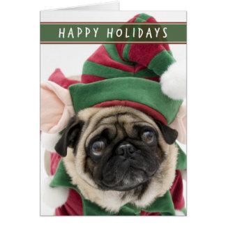 Elf-Mops-Weihnachtskarte Karte