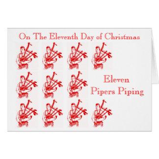 Elf Pfeifer, die WeihnachtsDudelsäcke leiten Karte