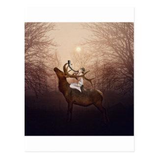 Elf-Prinzessin und das Hirsch-Horn Postkarte