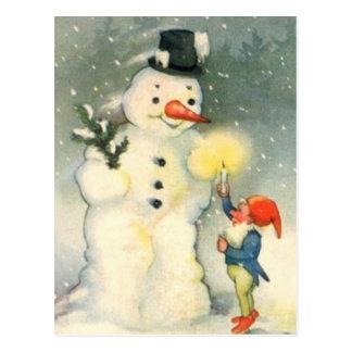 Elf-und Snowman-Vintage Weihnachtspostkarte Postkarten