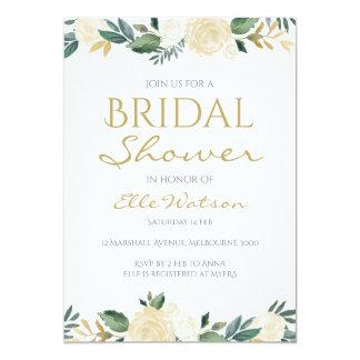 Elfenbein-BlumenBrautparty-Einladung, Wedding Karte