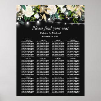 Elfenbein-Blumenschnur beleuchtet Poster