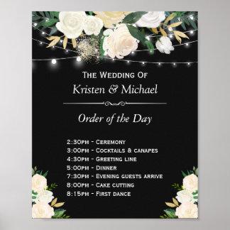 Elfenbein-Blumenschnur beleuchtet Tagesordnung das Poster