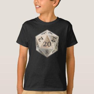 Elfenbein D&D d20 und schwarzer KNOCHEN die T-Shirt