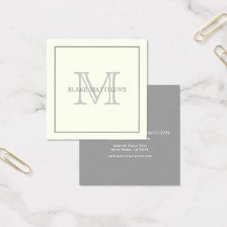 Elfenbein-graues kundenspezifisches Monogramm Quadratische Visitenkarte