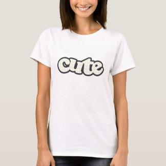 Elfenbein-Hahnentrittmuster T-Shirt