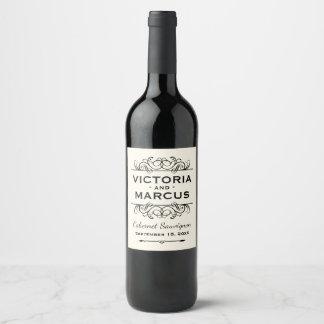 Elfenbein-Hochzeits-Wein-Flaschen-Bevorzugung Weinetikett