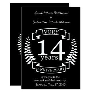 Elfenbein-Hochzeitstag 14 Jahre 12,7 X 17,8 Cm Einladungskarte
