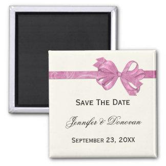 Elfenbein mit rosa Band-Bogen-Save the Date Quadratischer Magnet