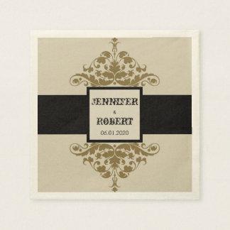Elfenbein-Schwarzes und Papierserviette