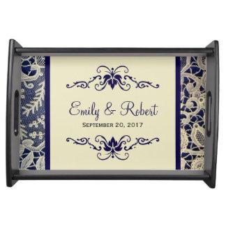 Elfenbein-Spitze-königliche Marine-Blau-elegante Tablett