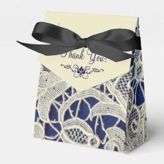 Elfenbein-Spitze-Marine-Blau-elegante Hochzeit Geschenkkarton