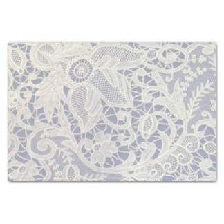 Elfenbein-Spitze-Marine-Blau-elegantes Seidenpapier