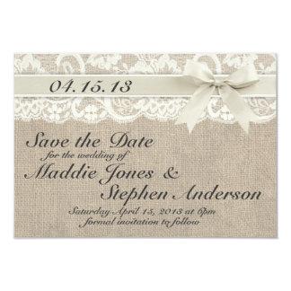 Elfenbein-Spitze u. Leinwand, die Save the Date 8,9 X 12,7 Cm Einladungskarte