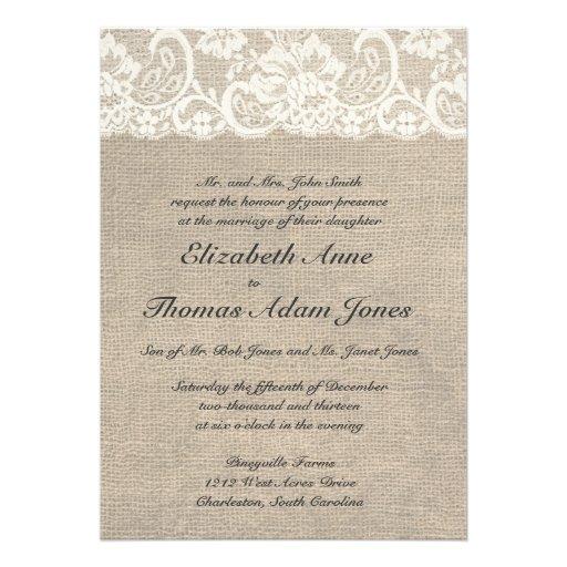 Elfenbein-Spitze und Leinwand-Hochzeits-Einladung