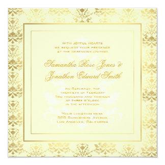 Elfenbein-u. Golddamast-Foto-Hochzeits-Einladung Quadratische 13,3 Cm Einladungskarte